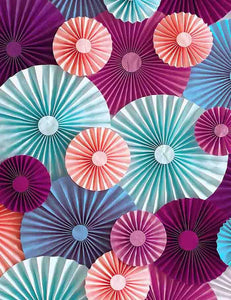 Pink Blue Purple Pinwheel Backdrop For Wedding Party Photography J-0139