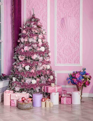 Pink Christmas Tree On Pink Wall Corner For Holiday Backdrop