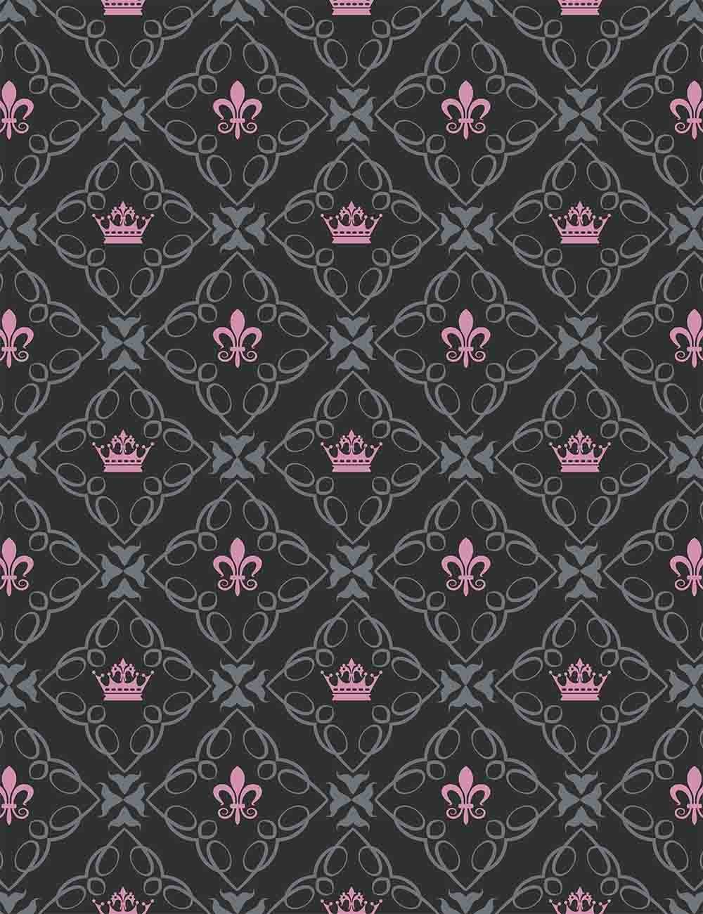 Pink Crown Painted On Black Checker Damask Photography Backdrop