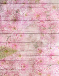 Pink Daisy Painted Wood Floor Mat Texture Photography Backdrop S-2622