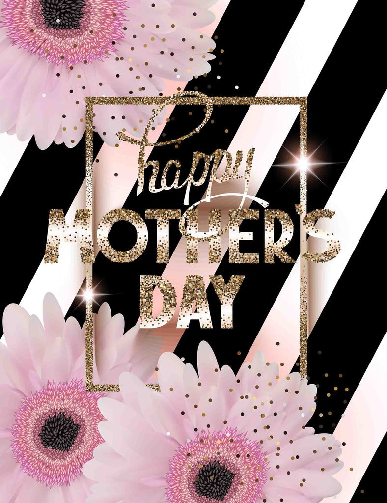 Pink Flowers And Gold Happy Mother Day With Strips Background Backdrop