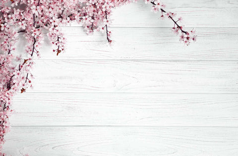 Pink Flowers On Light Cyan Wood Floor Photography For Spring Backdrop