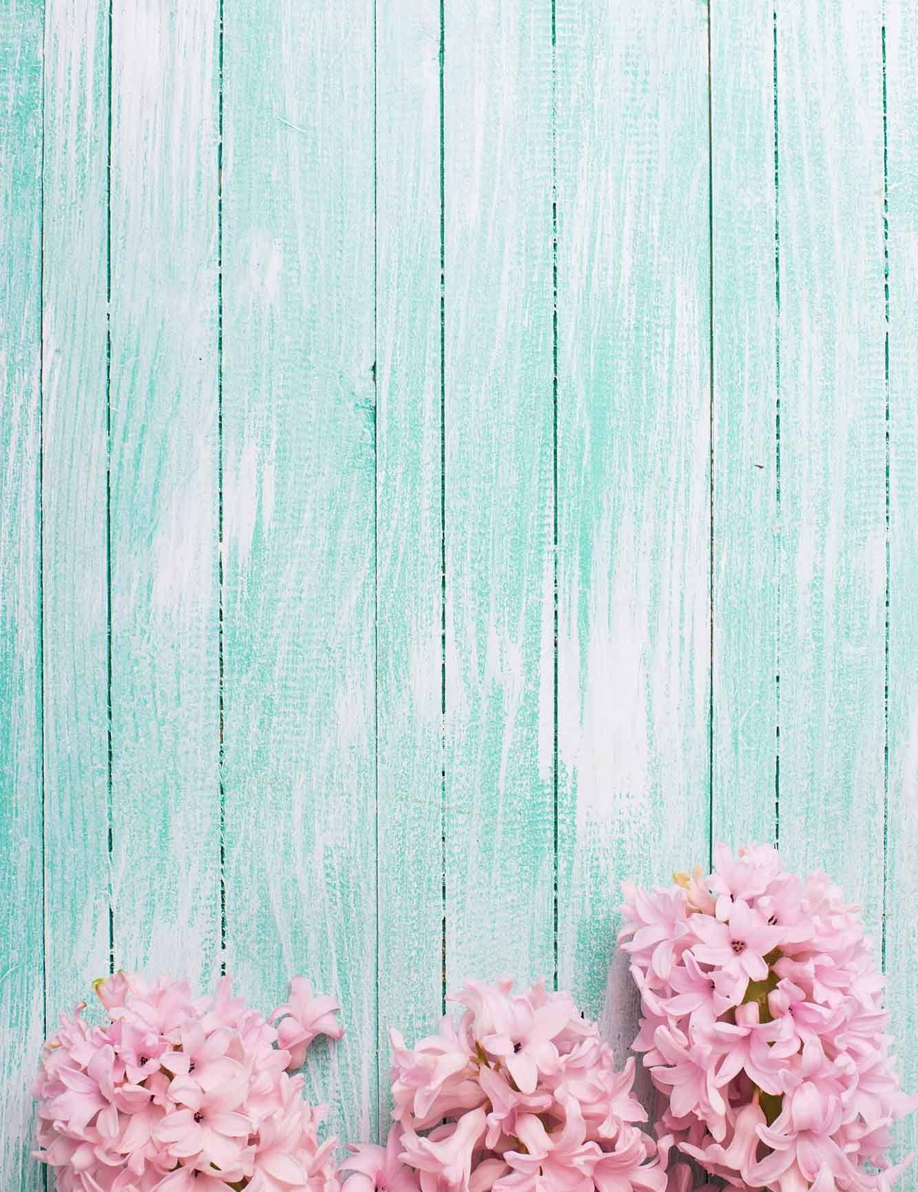 Pink flowers on powder blue wood floor photography backdrop for baby mightylinksfo