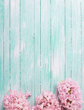 Pink Flowers On Powder Blue Wood Floor Photography Backdrop For Baby