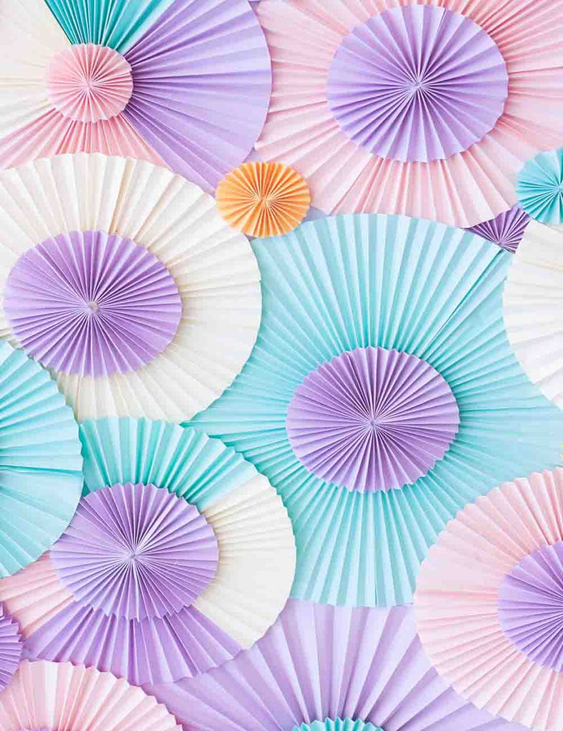 Pink Green Purple Pinwheel Fabric Backdrop For Photography J-0038