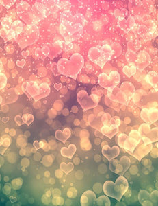 Pink Hearts Sparkle For Valentines Day Photography Backdrop J-0538