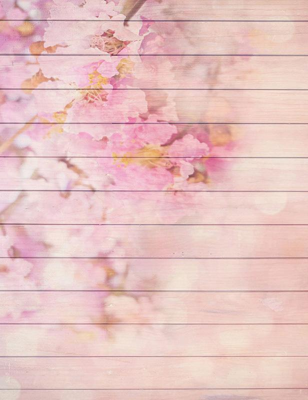 Pink Painted Spring Flower Wooden Floor Mat Photography Backdrop
