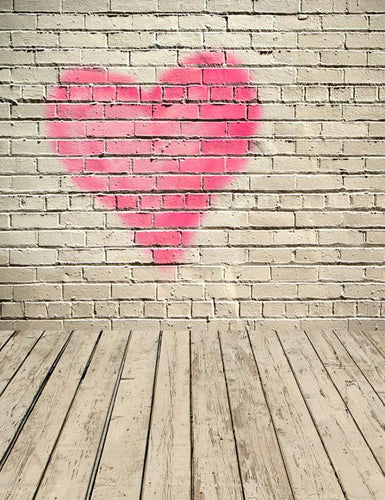 Pink Red Heart Paint On Retro Wall With Wood Floor Texture Backdrop For Photography S-2568