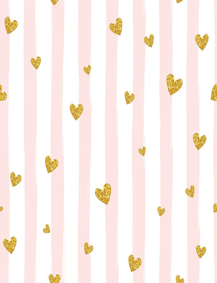 Pink Stripe With Golden Hearts For Birthday Photography Backdrop  J-0126
