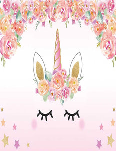 Pink Unicorn Patterned With Flower Star For Baby Show Backdrop lv-179