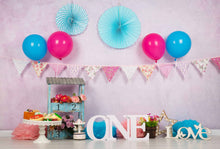 Pink Wall With Party Flags And Wheel For Baby 1Th Birthday Backdrop