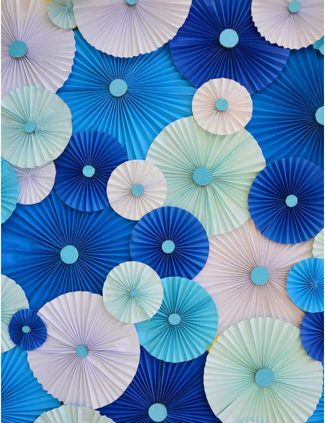 Pinwheel Rosettes Blue And Green Backdrop For Photography S-2286