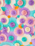 Pinwheel Rosettes Green Purple And Champagne Photography Backdrop S-2284