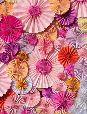 Pinwheel Rosettes Red Pink And Orange Photography Backdrop S-2285