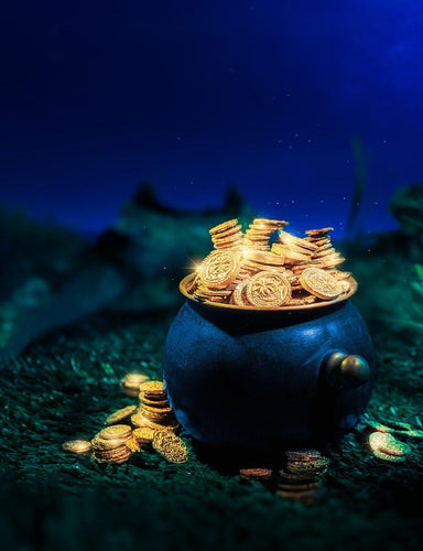 Pot Full Of Gold Coins In Forest At Night Photography Backdrop  J-0720