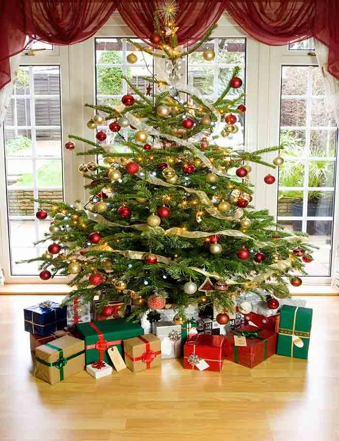presents under christmas tree in living room photography backdrop j 02 shopbackdrop