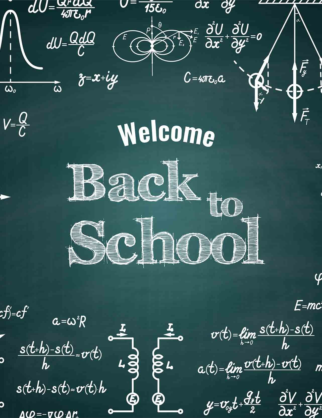 printed back to school on chalkboard for students photography