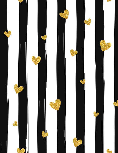 Printed Black Strips With Gold Hearts Photography  Backdrop