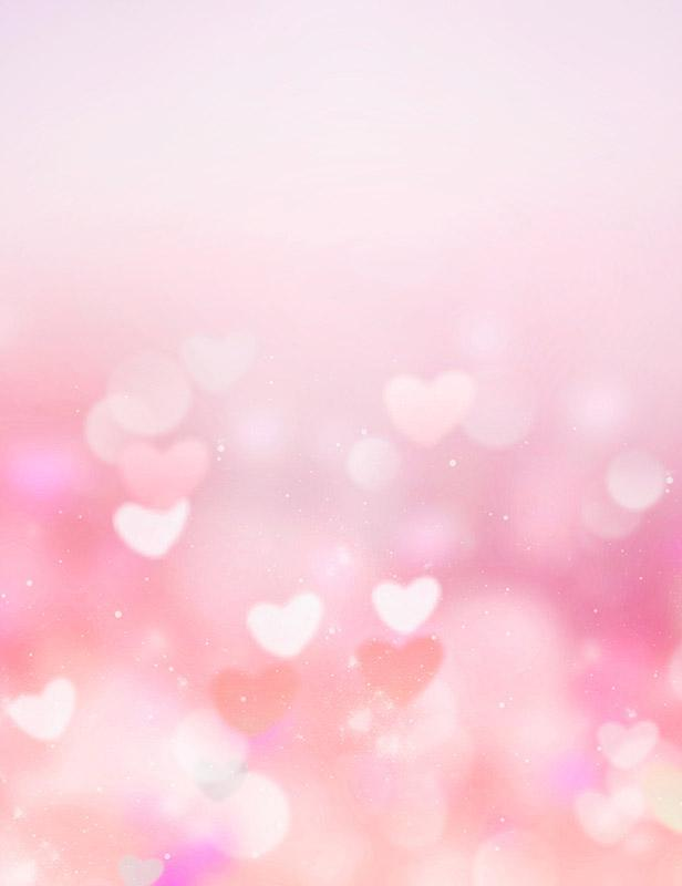 Printed Bokeh Pink Hearts For Love Photography Backdrop