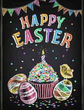 Printed Colorful Easter Eggs On Chalkboard Photography Backdrop