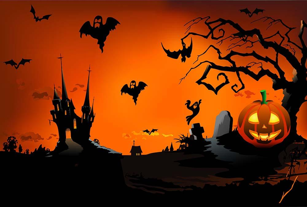 Printed Dark Castle And Bats For Halloween Holiday Baby Backdrop