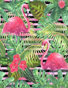 Printed Flamingos Jungle Summer Backdrop For Children Photography J-0099