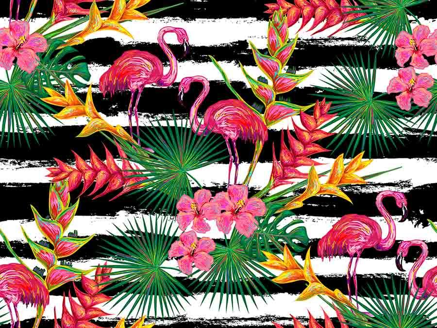 Printed Flamingos Tropical Plants For Children Summer Photography Backdrop J-0082
