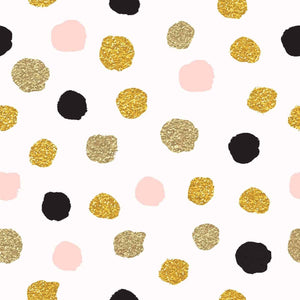 Printed Gold Polka Dots Backdrop For Children Photo Studio