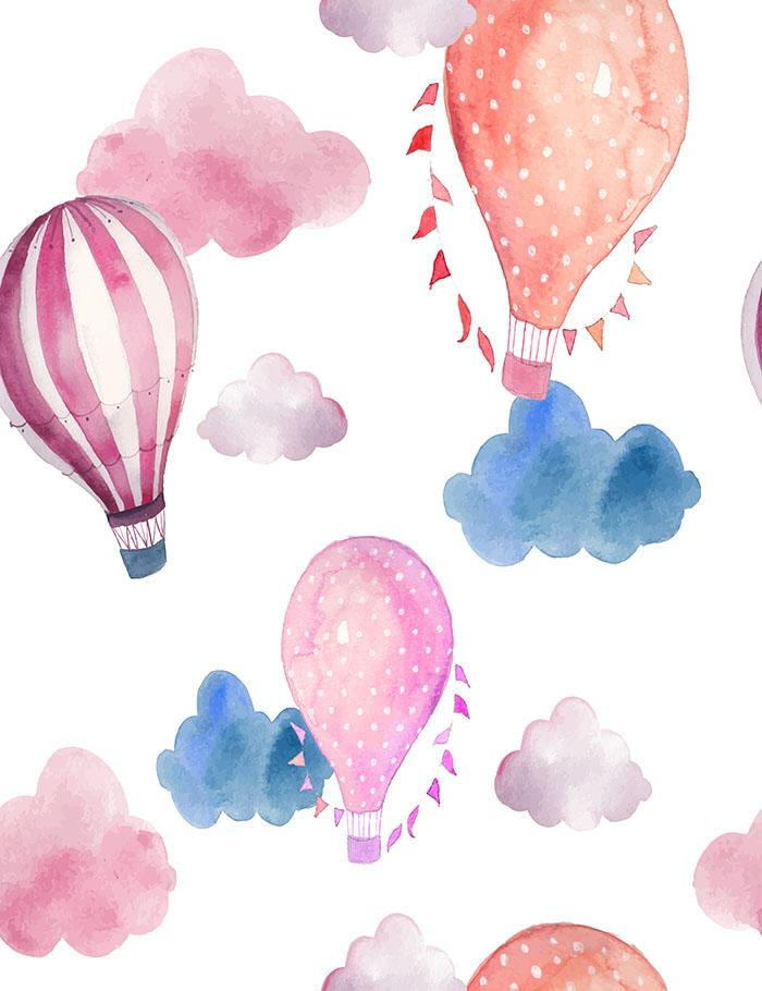 Printed Hot Air Balloons With Colorful Clouds Photography Backdrop J-0105