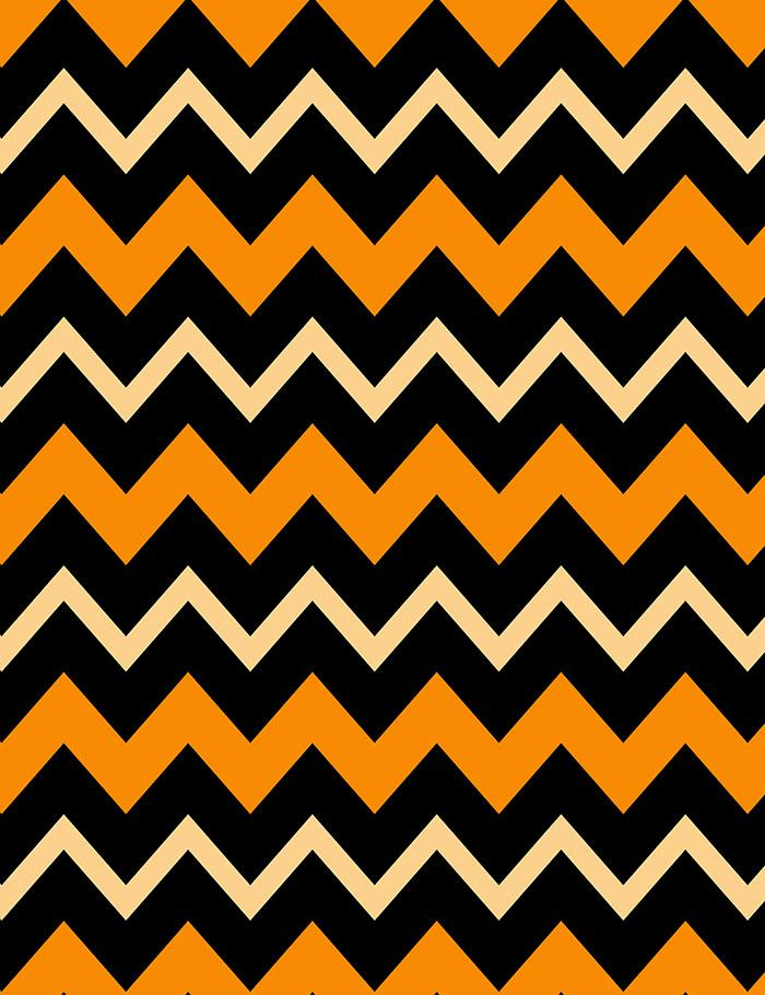 Printed Orange Black Chevrons For Halloween Photography Backdrop J-0592