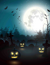 Printed Pumpkin Cemetery And Bat For Halloween Holiday Backdrop