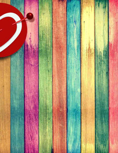 Printed Rainbow Color With Heart Wood Floor Photography Backdrop