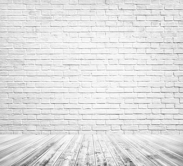 Hourwall Classicbrick Vintagewhite: Printed Retro White Brick Wall Texture With Old Floor