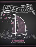 Printed Sailboat On Chalkboard For Wedding Photography Backdrops