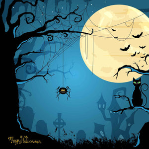 Printed Spider Dry Branches Full Moon Background For Halloween Backdrops