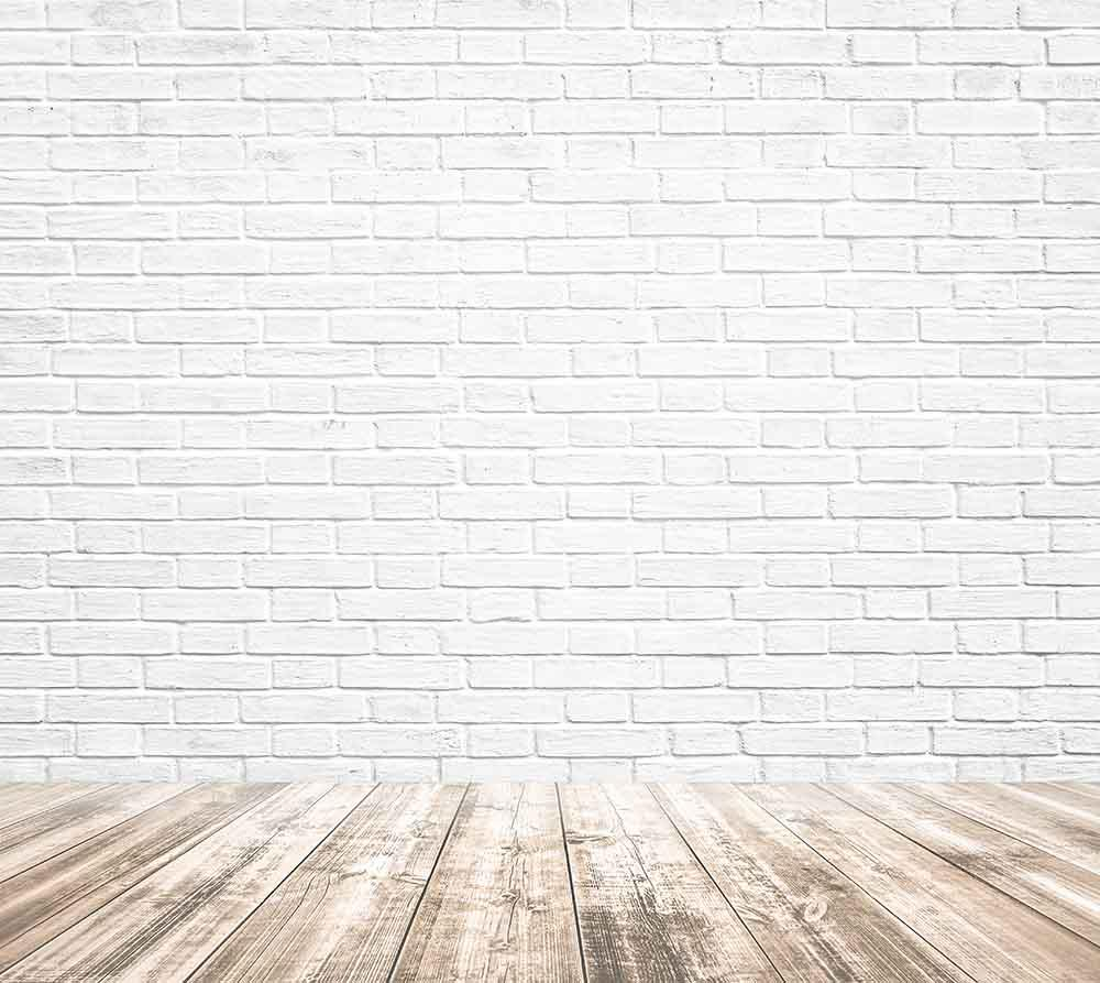 Printed White Brick With Wooded Floor Texture Photography Backdrop  J-0326