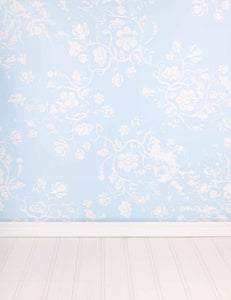 Printed White Flowers On Baby Blue Wall Backdrop For Photography