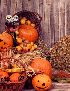 Pumpkin Heads And Autumn Props On Wooden Background Photography J-0734