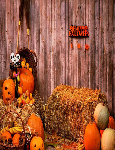 Pumpkin Heads And Autumn Props On Wooden Wall Photography Backdrop N-0060