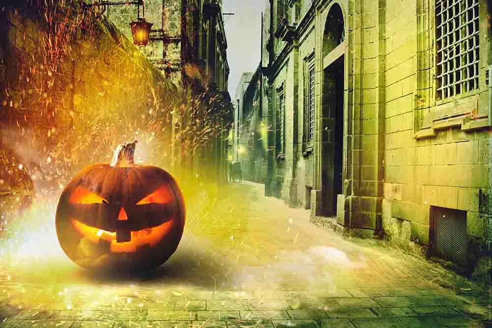 Pumpkin On Street With Spark For Halloween Holiday Photography  Backdrop - Shopbackdrop