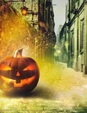 Pumpkin On Street With Spark For Halloween Holiday Photography  Backdrop