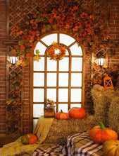 Pumpkin On The Haystack With Window For Halloween Photograhy Backdrop J-0598