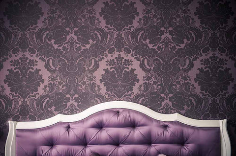 Purple Headboard With Deep Purple Damask Wall Photography Backdrop J-0161