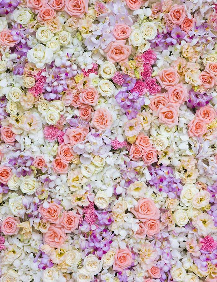 Purple Light Yellow Flower Wall For Wedding Photography Backdrop J-0501