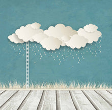 Rain Cloud And Ladder In Pale Blue Background With Wood Floor For Baby Backdrop-Shop Backdrop