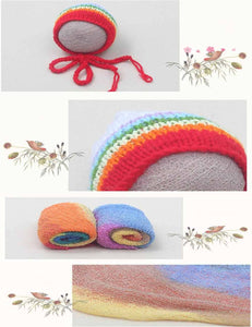 Rainbow Stretch Texture Wraps Knitted Hats Newborn Photography Props