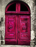 Red Arched Wood Door With Gray White Brick Wall Backdrop