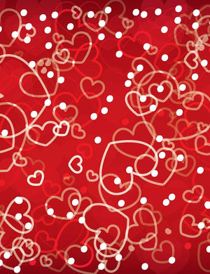 Red Background With Hearts And White Dots Backdrop