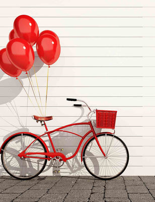 Red Bicycle With Balloons And Basket On Stone Floor Withe Wood Wall Backdrop