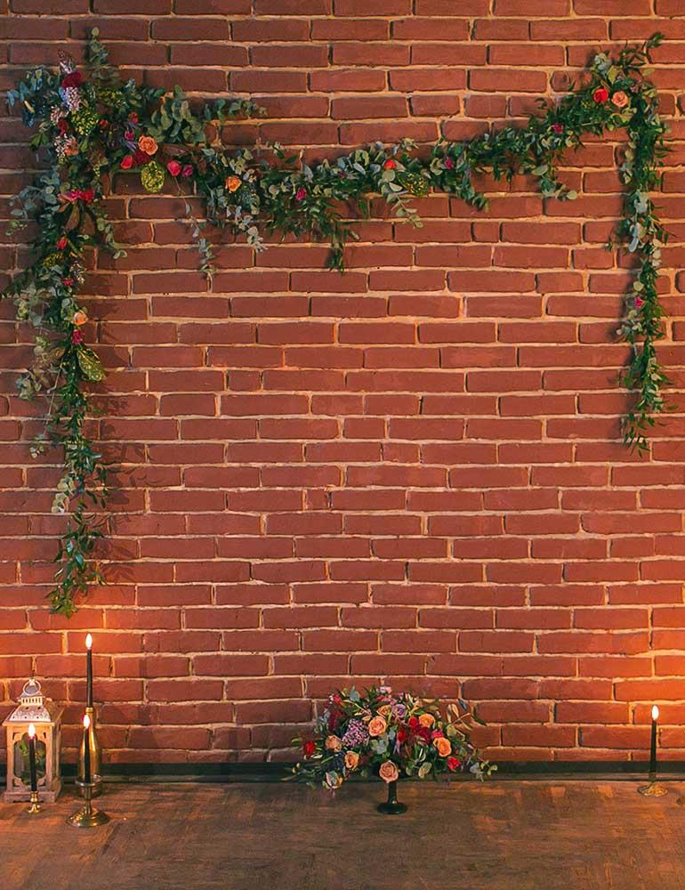 Red Brick Wall With Flower Belt For Event Photography Backdrop